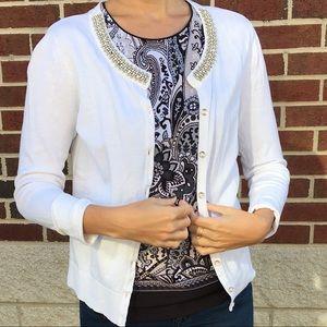 White beaded cardigan